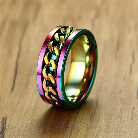 Stainless Steel Rainbow Chain Spinner Ring