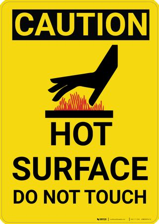 Caution: Hot Surface Do Not Touch Warning Vertical With