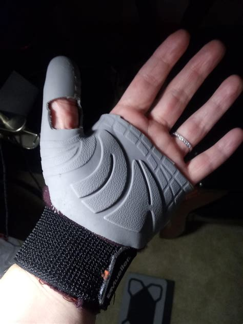 Homemade game/thumb glove with wrist support, never give