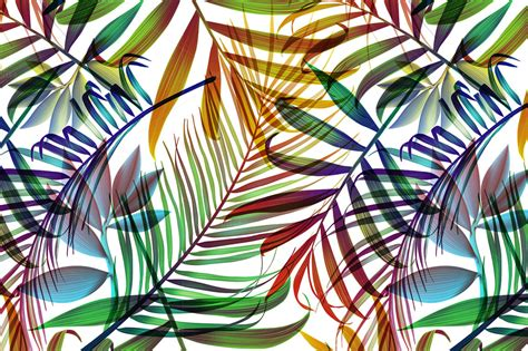 Tropical colorful palm jungle leaves ~ Patterns on