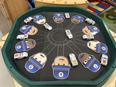 Number recognition - car map/ police themed tuff spot