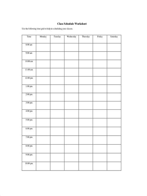 FREE 9+ Classroom Schedule Examples & Samples in Google