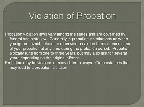 The violations & consequences of probation